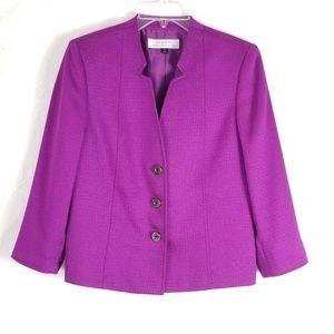 Tahari Suit Blazer Jacket Button Front 3/4 Sleeve